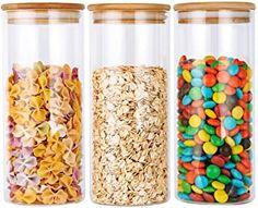 Amazon.com : coffee tea sugar container set Glass Food Storage, Airtight Food Storage Containers, Plastic Container Storage, Jar Storage, Storage Canisters, Plastic Containers With Lids, Glass Jars With Lids, Glass Containers, Glass Canisters