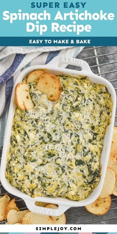 Spinach and Artichoke Dip is the perfect appetizer. Made with simple ingredients, this great snack comes together quickly and is always a hit! Dip Recipes, Great Recipes, Favorite Recipes, Best Appetizers, Appetizer Recipes, Hot Artichoke Spinach Dip, How To Make Spinach, Small Slow Cooker, Best Party Food