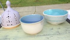 Ceramic luminary and bowls