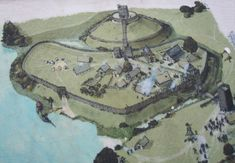 Display Board of Huntingdon Hill Motte and Bailey Castle -  motte-and-bailey castles, built using forced Anglo-Saxon workers: the motte was a high mound on which a wooden tower was constructed; the bailey was the courtyard at the bottom of the mound with: living quarters, stables, workshops and perhaps a chapel. 16