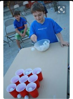 You need solo cups and Ping-Pong balls. You try to bounce the Ping-Pong balls into the solo cups. Activity Games, Fun Games, Games To Play, Group Games, Family Games, Carnival Games For Kids, Easter Games For Kids, Youth Games, Family Fun Night