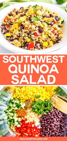 Southwest Quinoa Salad Southwest Quinoa Salad – This easy quinoa black bean salad recipe is made with tomatoes, corn, bell peppers and other flavorful ingredients, making this side dish light and healthy. Quinoa Salad Recipes Easy, Mexican Quinoa Salad, Southwest Quinoa Salad, Bean Salad Recipes, Salad Dressing Recipes, Vegetarian Recipes, Healthy Recipes, Quinoa Bean Salad, Healthy Vegetarian Recipes