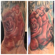 #beforeandafter gave this rose a new lease of life  #coverup #tattoofix #tattoo #tattoos #rose #rosetattoos #rosetattoo #colourtattoo #colour #ink #inked #boyswithink #boyswithtattoos #inksplat #inksplatter #dummy #dummytattoo #aggysink #london #tattooartist