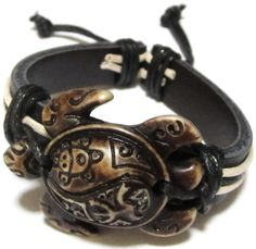 Brown Turtle Bracelet - Black Leather bracelet - Turtle with Taino Indian Symbols - Coqui and Sun - Sea Turtle Bracelet - Carey Bracelet