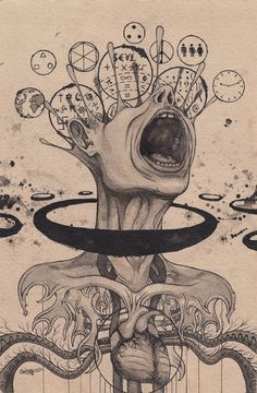 Trippy Drawings, Dark Art Drawings, Art Drawings Sketches, Cool Drawings, Art Sketches, Artwork Drawings, Fantasy Drawings, Tattoo Sketches, Art And Illustration