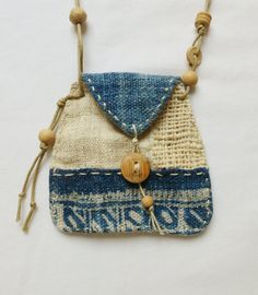 46 € Indigo textile Talisman Pouch by Indinoco on Etsy
