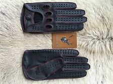 Men's Driving Leather Gloves Black Red stitching