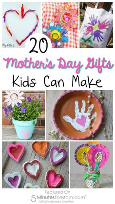 20 Mother's Day Gifts Kids Can Make The best gifts are handmade with love! Here are the sweetest Mothers Day gifts kids can make. All these mother's day craft ideas are so easy to make. Cute Mothers Day Gifts, Homemade Mothers Day Gifts, Diy Gifts For Mom, Mothers Day Crafts For Kids, Crafts For Kids To Make, Diy Mother's Day Gift For Grandma, Kids Gifts, How To Make, Diy Mother's Day Crafts