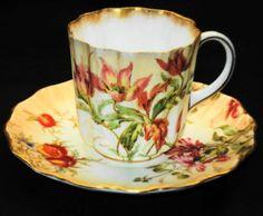 ROYAL-DOULTON-BURSLEM-c-1891-ANTIQUE-HP-FLUTED-DEMI-TEA-CUP-AND-SAUCER