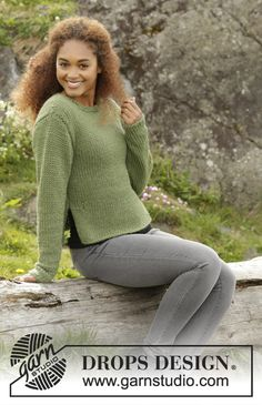 Juniper jumper with vents and roll edges by DROPS Design Free knitting  Pattern