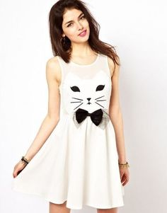 Buy Women fashion new cat pattern bow decor sleeveless slim waist pleated one-piece dress white F at Wish - Shopping Made Fun Gauze Dress, Dress P, Dress Me Up, Skater Dress, Chiffon Dress, Look Fashion, Womens Fashion, Dress Fashion, Cat Dresses