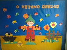 quadros de outono pre escolar - Pesquisa Google Autumn Theme, Holidays And Events, Flag, Snoopy, Logos, Fictional Characters, Harvest, Fall Door, Fall Boards