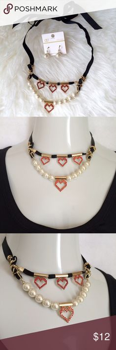 NEW Listing✨Rhinestone hearts & pearls jewelry set Necklace & earring set featuring pearl dangle earrings and red rhinestone hearts and pearls strung on tiered black ribbons that tie at the neck for length adjustability from a choker to something longer. Not interested in trades. NWOT Jewelry Necklaces