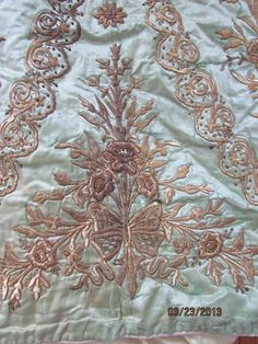 Stunning Antique Turkish Embroidery Skirt Mint Green Silk Gold Embroidery | eBay