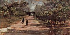 Die Baumallee mit zwei Kindern - Giovanni Fattori