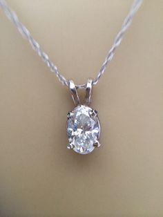14K Diamond 3/4 ct White Gold Pendant 0.75 carat Solitaire vintage Diamond Necklace