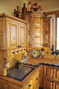 Blue Yellow Mexican Tiles Kitchen Countertop And Backsplash Design Ideas Southwest Style Decor