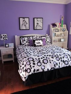 Chic Purple Teen Bedroom Ideas With White And Black Endearing Floral Bed  Cover And Pillow Also White Deska And Shelves On Wooden Laminated Floor And  Soft ...