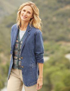 Just found this Denim Blazer Boyfriend Jacket - Vintage Denim%26%23153%3b Boyfriend Jacket -- Orvis on Orvis.com!