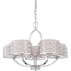 Harlow - 5 Light Chandelier - Polished Nickel Finish with Slate Gray Fabric Shade - Over the kitchen table