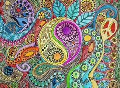 The Color of Drums Singleton Art Hippie Art by justgivemepeace Mandalas Painting, Mandalas Drawing, Hippie Art, Hippie Style, Boho Hippie, Zen Doodle, Doodle Art, Yen Yang, Hippie Background