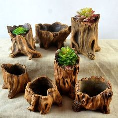 Wood Flower Cement Planters for Succulents Flowerpots Bonsai Decor Imitating Wood Flower Cement Planters for Succulents Flowerpots Bonsai Decor Driftwood Planters, Driftwood Crafts, Wooden Planters, Planter Pots, Cement Flower Pots, Cement Pots, Flower Planters, Garden Art, Garden Design