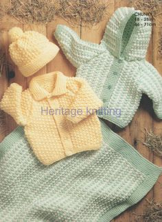baby childrens jackets hat and blanket chunky by Heritageknitting1