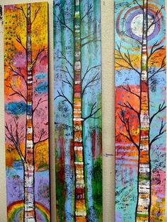 Peace Art Studio - colorful paintings of treestextile a forest for CAQ collaborative Peace Art Studio - Love these colorful paintings of trees!Peace Art Studio - Love these colorful paintings of trees! I might try something like this on my three full Art Fantaisiste, Peace Art, Colorful Paintings, Tree Paintings, Acrylic Paintings, Colorful Trees, Acrylic Art, Whimsical Art, Art Plastique