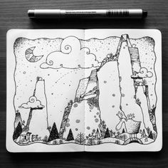 Dave garbot - taking the shot Projects For Kids, Art Projects, Drawing Sketches, Art Drawings, Mountain Sketch, Art Simple, Doodle Art Journals, Cookies Et Biscuits, Moleskine