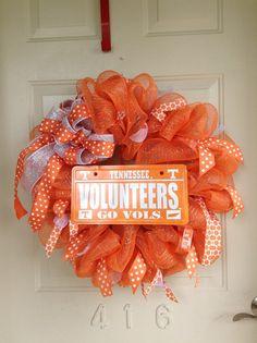 University of Tennessee UT Vols Mesh Ribbon Wreath by TowerDoorDecor, $40.00