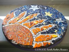 Friday's Featured Item: Mosaic Stained Glass, Sun and Stars, Wall Art Easy Mosaic Patterns Mosaic Tile Art, Mirror Mosaic, Mosaic Crafts, Mosaic Projects, Mosaic Ideas, Mosaic Flower Pots, Mosaic Pots, Mosaic Glass, Glass Art