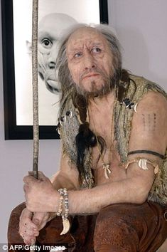 The silicone reconstruction of the 'Chancelade Man' created by artist Elisabeth Daynes, which is a reconstruction of a pre-historic human. (and all I keep seeing is Mick Fleetwood from the Mac here!