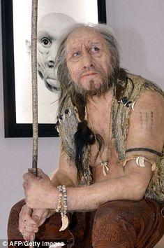 Modelo de um homem pré-histórico.