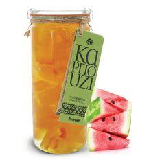 Γλυκό του κουταλιού καρπούζι από ελληνικούς καρπούς. Χωρίς γλουτένη. Σε επώνυμο βάζο ανώτερης ποιότητας, κατάλληλο για οικιακή χρήση. | Watermelon spoon sweet. With greek fruits. Gluten free. Voss Bottle, Water Bottle, New Age, Spoon, Recipies, Gluten, Sweets, Fruit, Drinks