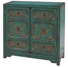 Calandra Cabinet - Bring rustic-chic appeal to your living room or den with this eye-catching cabinet, showcasing 2 doors and hand-painted floral details. Accent Furniture, Painted Furniture, Furniture Ideas, Refurbishing Furniture, Furniture Inspiration, Color Inspiration, Hall Chest, Pulaski Furniture, Accent Chest
