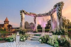 How's that for a ceremony design? Order Of Wedding Ceremony, Wedding Ceremony Chairs, Wedding Stage Backdrop, Wedding Stage Design, Wedding Mandap, Desi Wedding Decor, Wedding Hall Decorations, India Wedding, Party Wedding