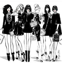 Megan Hess,   Coco Chanel girls...