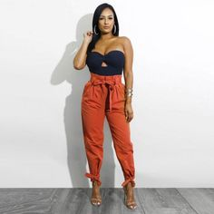 Belted High Waist Ankle Lace-up Casual Loose Pants – Lupsona High Jeans, High Waist Jeans, Black Jeans, Belts For Women, Clothes For Women, Baggy Trousers, Cargo Pants, Suede Pants, Ankle Pants