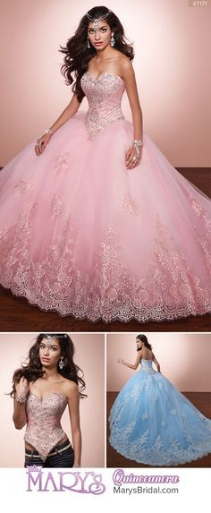 Style 4T171: 2 piece tulle and lace quinceanera ball gown with strapless sweetheart neck line, lace bodice with beading detail, lace applique on skirt and around the hem line, lace-up back, train, and matching bolero. From Mary's Quinceanera Fall 2016 Alta Couture Exclusive Collection
