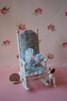 OoaK Dollhouse Miniature Cottage Chic Vintage Rocking Chair. $15.00, via Etsy.