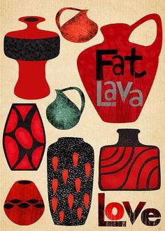 fat lava, pottery, vintage, german veramics, lava vases