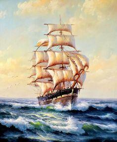 Парусник - Схемы вышивки - Нина1976 - Авторы - Портал «Вышивка крестом» Old Sailing Ships, Ship Paintings, Seascape Paintings, Stormy Sea, Ship Drawing, Full Sail, Boat Painting, Sea Art, Tall Ships