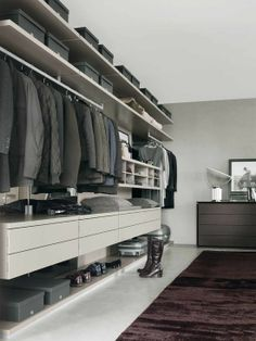 Striking Large CLOSETS Design Made From Wooden Material On White Flooring Unit With Comfortable Rug Design Idea
