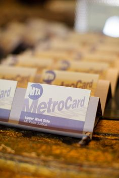 Metro cards as escort cards Photography By / http://sarahpostma.com,Wedding Coodinator By / http://cloudnoveevents.com