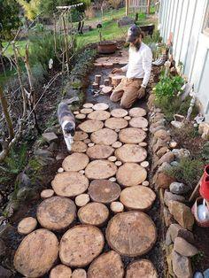 Outdoor Landscaping, Front Yard Landscaping, Patio, Backyard, Wood Pathway, Cordwood Homes, Garden In The Woods, Rustic Gardens, Back Gardens