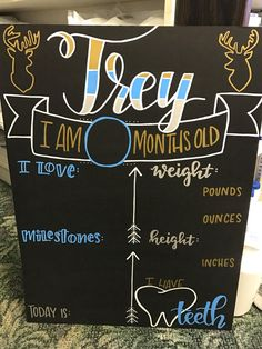 Baby Boy Personalized Handlettered Monthly Milestone Chalkboard Great gift for new baby! Re-usable c Chalkboard Baby, Chalkboard Designs, Birthday Chalkboard, One Month Baby, Silhouette Cameo Projects, Baby Milestones, Baby Crafts, New Baby Gifts, New Baby Products