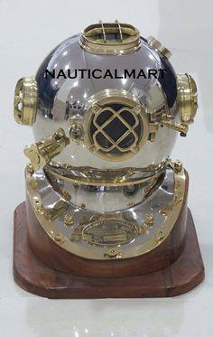 "U.S Navy Mark V Decor Full Size Diving Divers Helmet Wooden Base Stand 18/"" Gift"