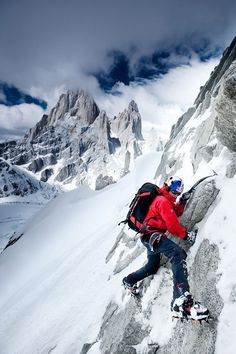 Corey Rich photo of David Lama and Daniel Steuerer attempting to make the first free ascent of The Compressor Route on Cerro Torre in Patago...
