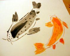 Chinese brush painting | Koi | by Liz Hudson