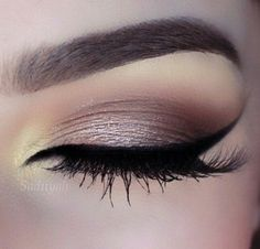 Light Brown Smokey Eye with a Pop of Yellow